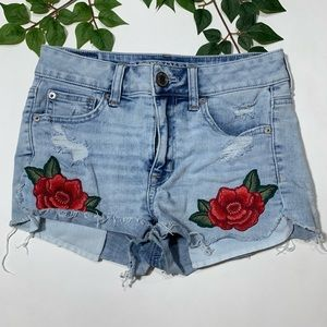 AEO Hi Rise Distressed Jean Shortie Rose Patches